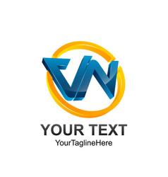 3d circle letter vn initial alphabet logo design vector