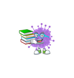 A hard student in coronavirus influenza with book vector