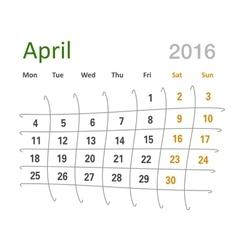 April 2016 calendar funny grid vector