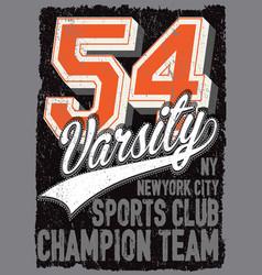 athletic dept new york varsity sport print vector image