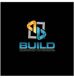 B build construction 3d logo designs simple modern vector