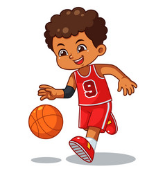 Basket ball boy performing dribble vector