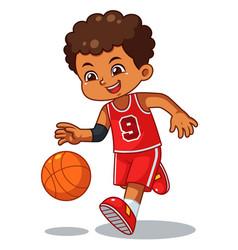 basket ball boy performing dribble vector image