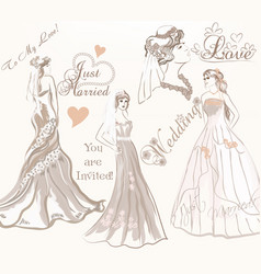 beautiful bride set for wedding design vector image