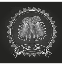 Beer in mag Chalk drawing vector image