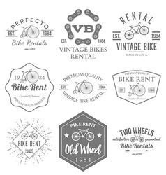 Bike rent label and badges design vector