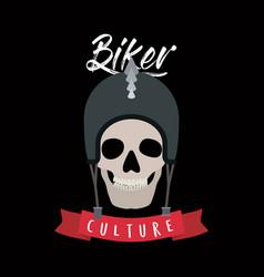 Biker culture poster with skull with helmet of vector