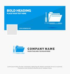 blue business logo template for folder tool vector image