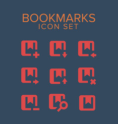 bookmarks icon set vector image