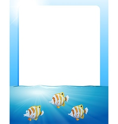 Border design with fish swimming vector image