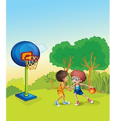 Boys playing basketball at the top of the hill vector image vector image