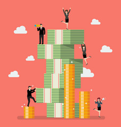 Business people try to climbing money mountain vector