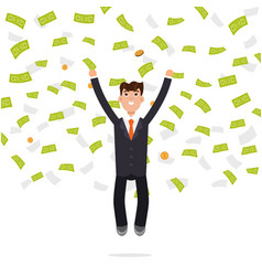 businessman jumping in money rain finance vector image
