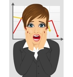 businesswoman looks stressful over line graph vector image