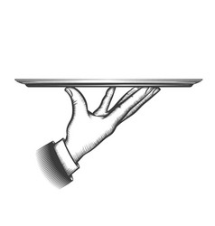 butler serving tray vector image