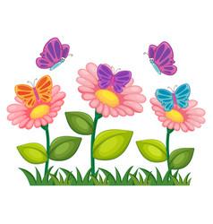 butterflies flying in flower garden vector image