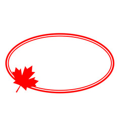 Canadian red leaf oval frame vector