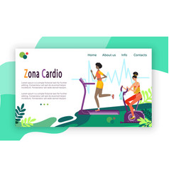 Cardio workout women running and cycling in gym vector