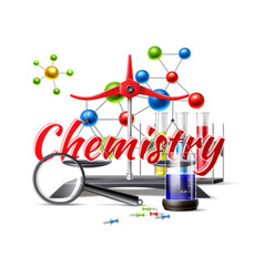 Chemistry study at school poster 3d flask vector