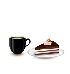 coffee and piece of cake vector image