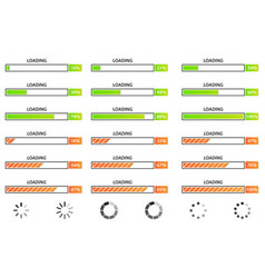 collection of loading bar for web pages on vector image