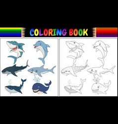 coloring book with sea animals collection vector image