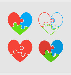 Couple hearts puzzle love valentine day vector