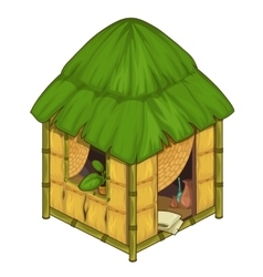 Cozy house made bamboo and straw vector