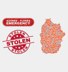 Crisis and emergency collage flores island of vector