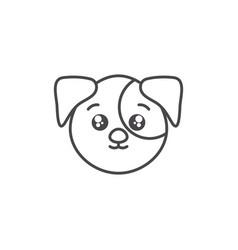 Cute dog domestic animal head line style icon vector