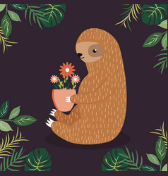 cute sloth with a pot of flowers vector image