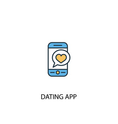 dating app concept 2 colored icon simple blue vector image