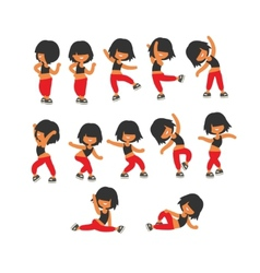 Different poses sporty dancing girl vector image