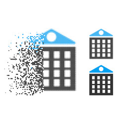 Dissolving dot halftone multi-storey house icon vector