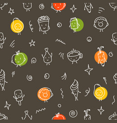 Doodle style color food seamless pattern vector