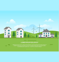 Ecofriendly town with windmills - modern vector