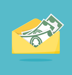 Envelope with money yellow paper open envelope vector