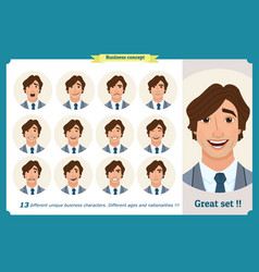 Face expressions of a manbusinessman vector