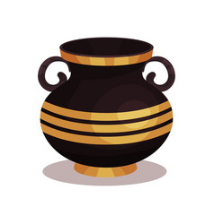 Flat icon of shiny black amphora with vector