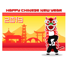 flat lion dancer in front of traditional china vector image