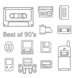 Gadget 90s icon vector