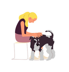 Girl is sitting with a terrier dog outdoors vector