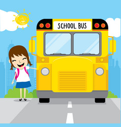 Girl student go to school by school bus in the mor vector
