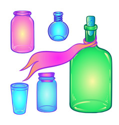 glass bottles set kitchen vector image