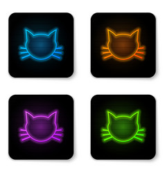 glowing neon cat icon isolated on white vector image