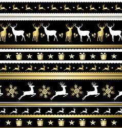 Gold Christmas holiday deer decoration pattern vector image