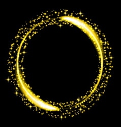 Gold glitter star dust circle vector image