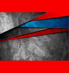 Grunge tech material blue and red background vector