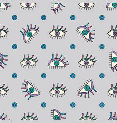 Hand drawn abstract eyes pattern sight seamless vector