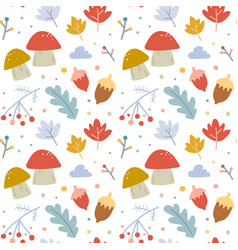 hand drawn autumn seamless background pattern vector image